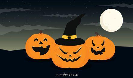 Calabazas lindas con sombrero sobre luna llena de Halloween
