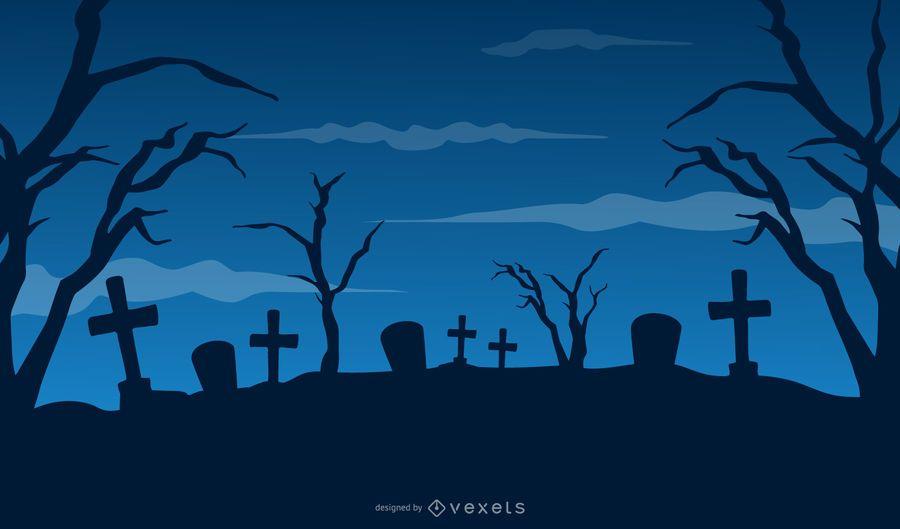 Festa de Halloween do cemitério com casa caçada & árvore