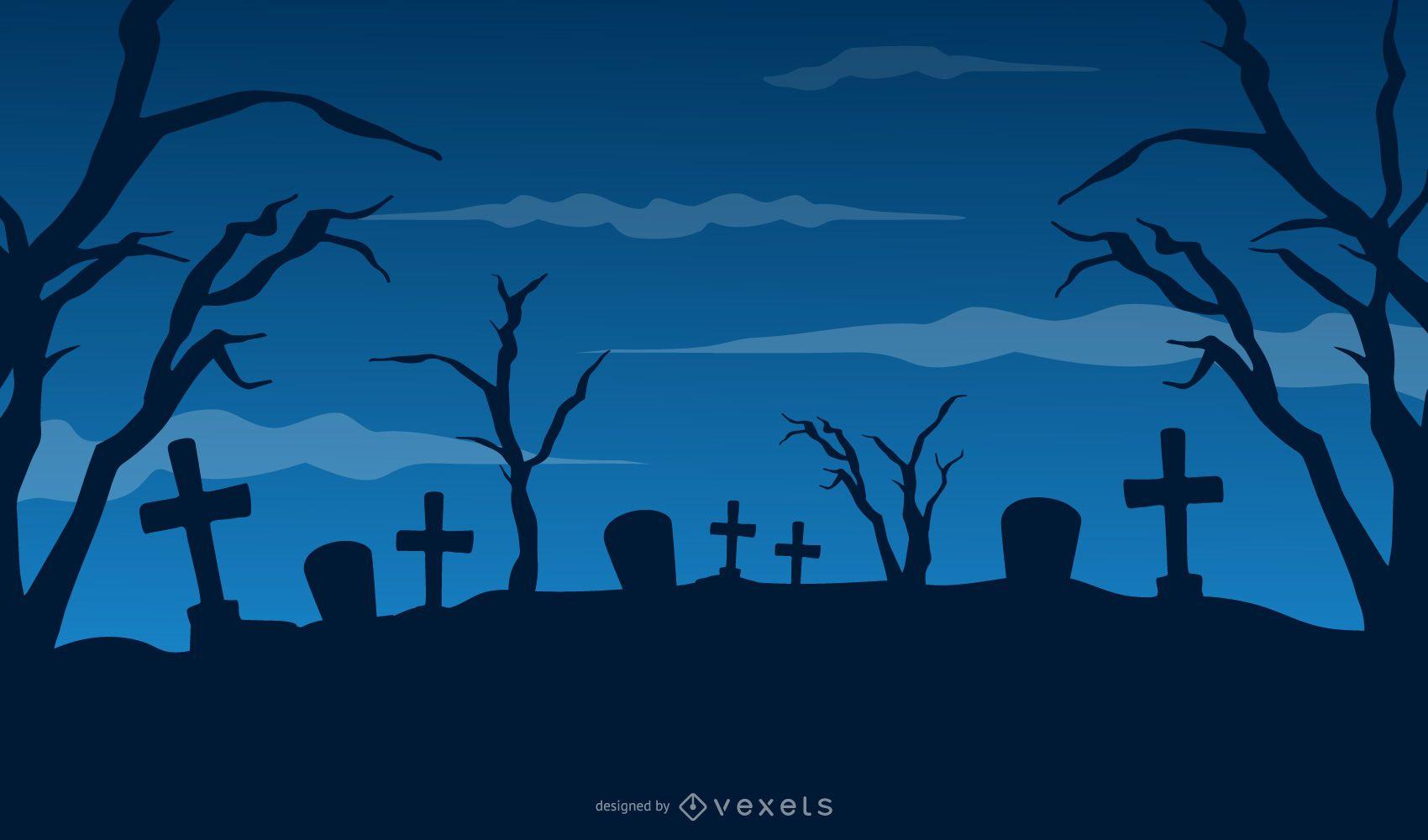 Plantilla de fondo de Halloween del cementerio