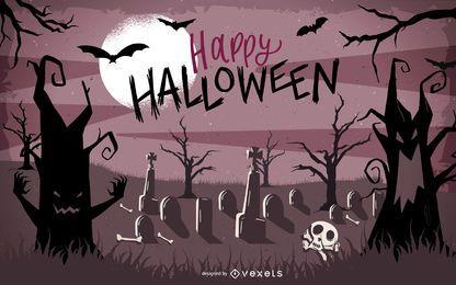 Cartel de Halloween con árboles cazados y murciélagos