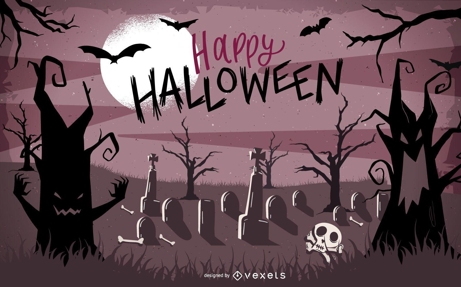 Pôster de Halloween com árvores e morcegos caçados