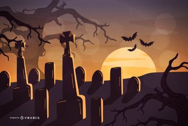 Cementerio nocturno de Halloween con árboles cazados