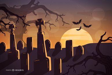 Cemitério de noite de Halloween com árvores caçadas