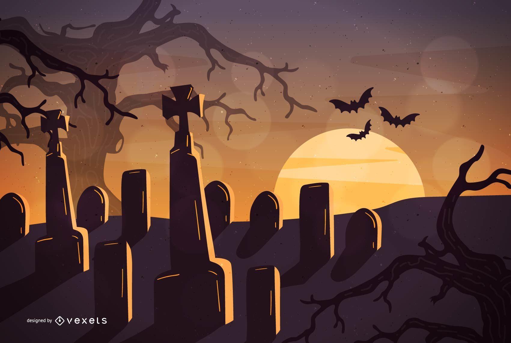 Cemitério noturno de Halloween com árvores caçadas