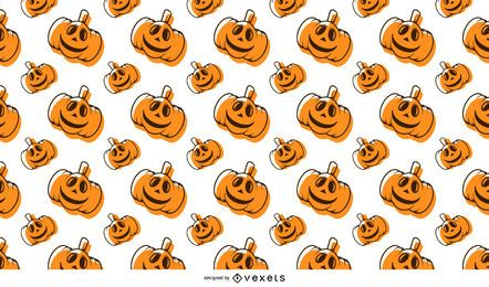 Padrão sem emenda de abóbora de Halloween com ossos e morcegos