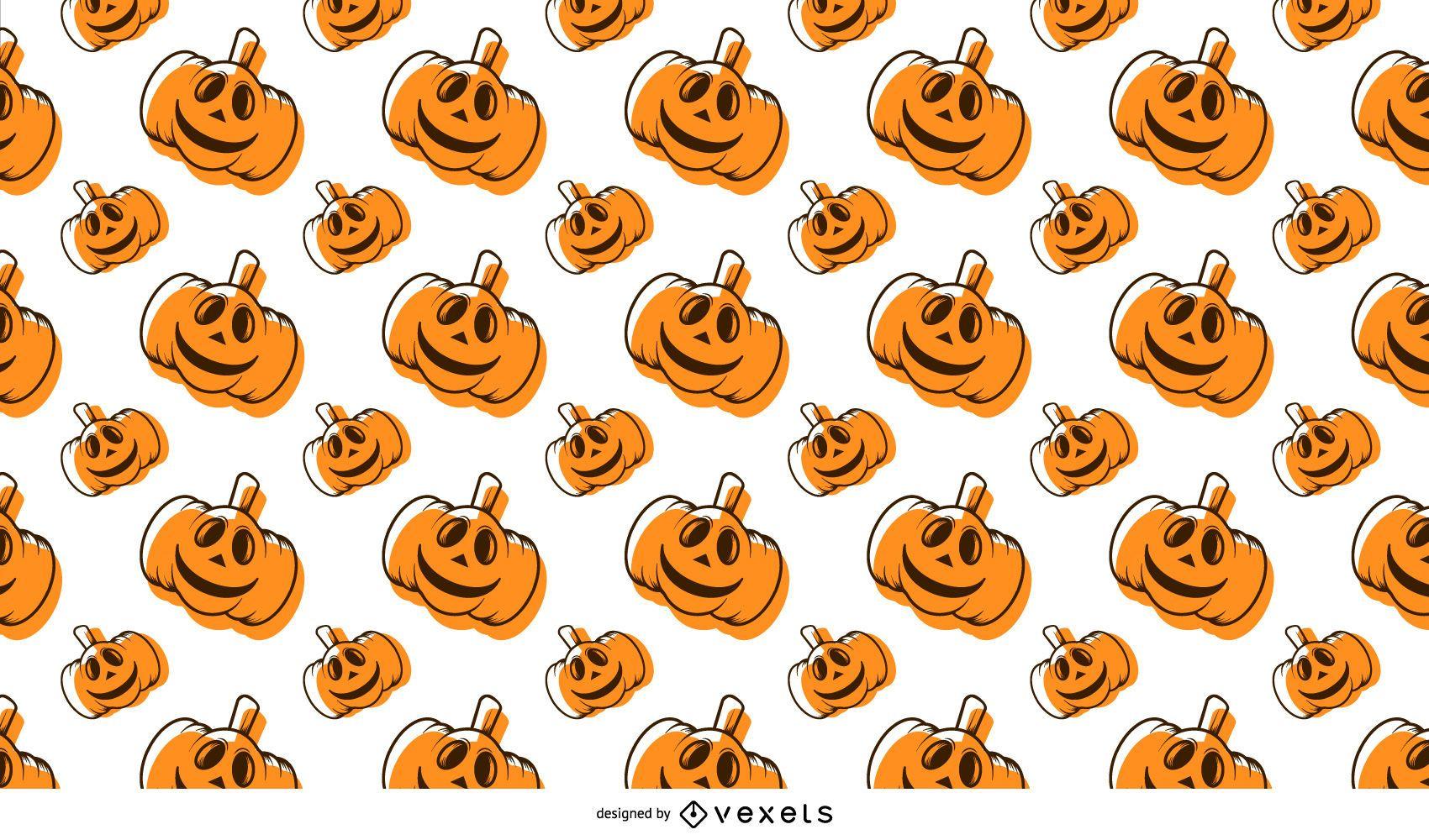 Patrón sin fisuras de dibujos animados de calabaza de Halloween