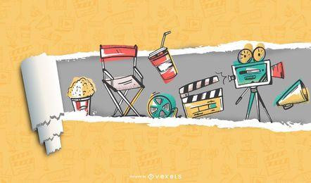 Rasgue o filme de papel e o fundo do filme