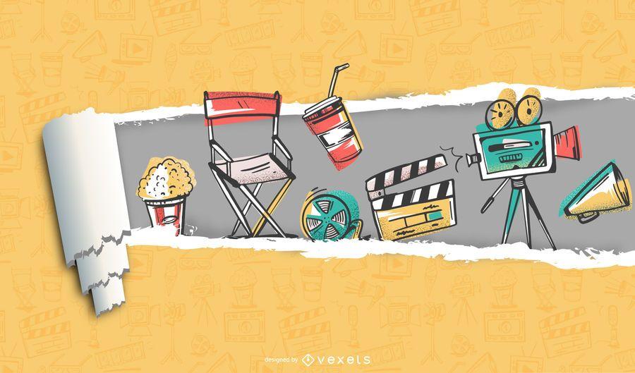 Corte de papel de película y fondo de película