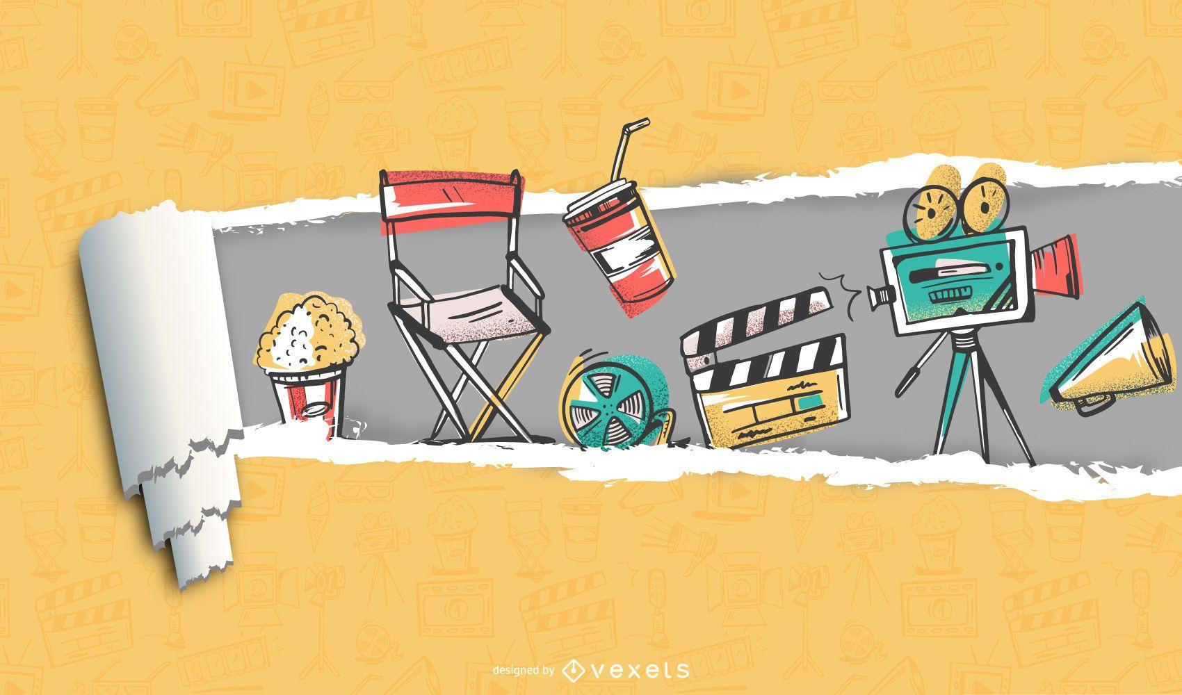 Tear off Paper Movie & Film Background