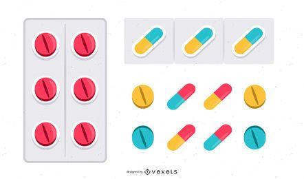 Cápsula brillante y pastilla de colores