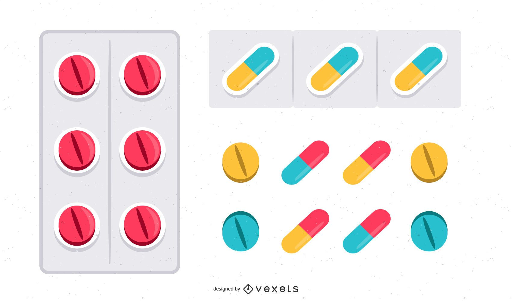 Glossy Capsule & Pill Colorful Set