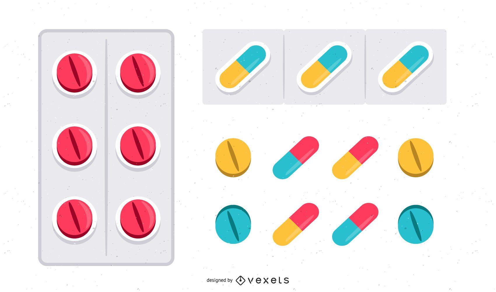 Juego de cápsulas y píldoras brillantes de colores