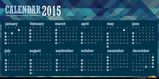 Calendário azul poligonal de 2015