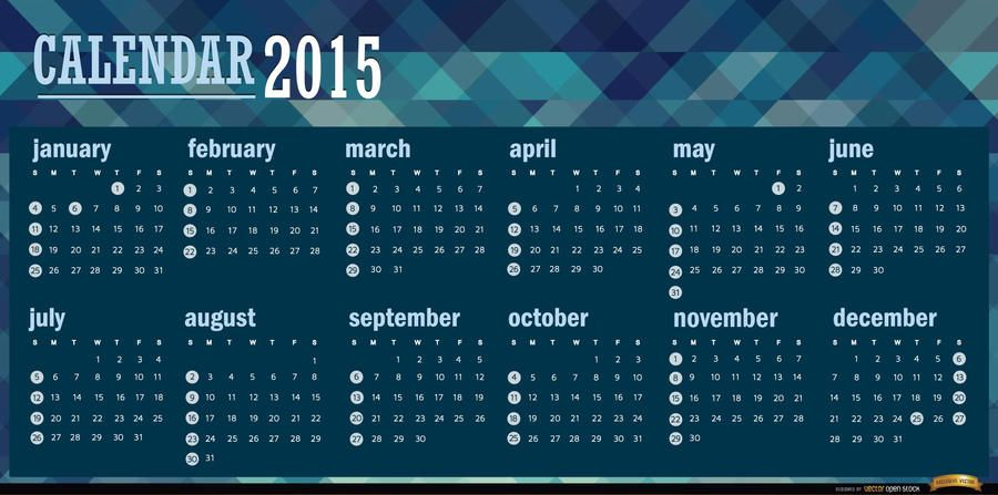 2015 polygonal blue calendar