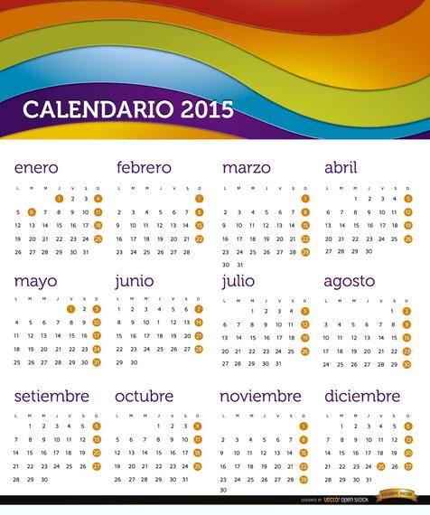 2015 Rainbow calendar Spanish