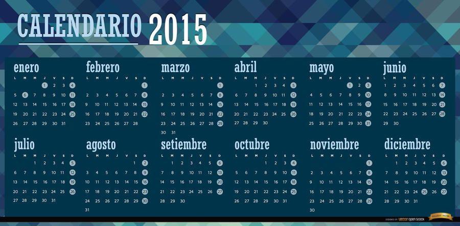 2015 calendário poligonal azul espanhol