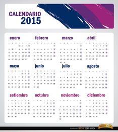 2015 pinceladas artísticas de calendário espanhol
