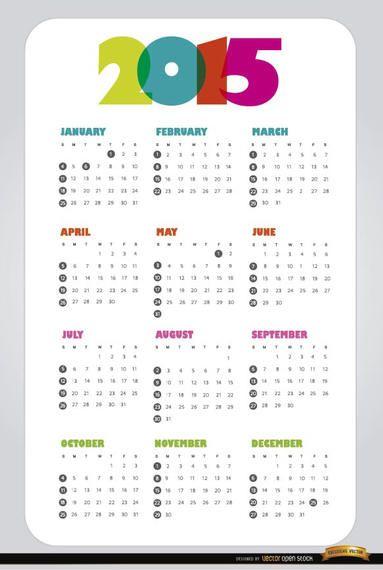 Calendário simples de 2015