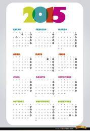 2015 simple calendar Spanish