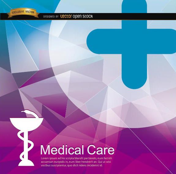 Medical health polygonal backdrop