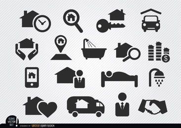 Iconos de proceso de venta de bienes raíces