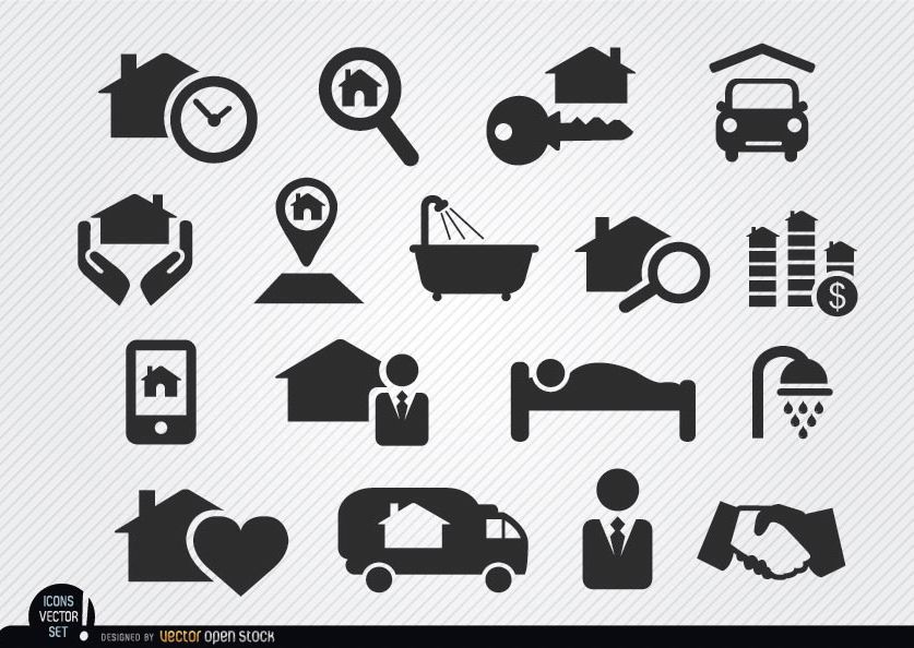 Real estate selling process icons