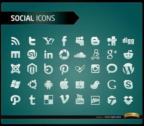 40 ícones de mídia social