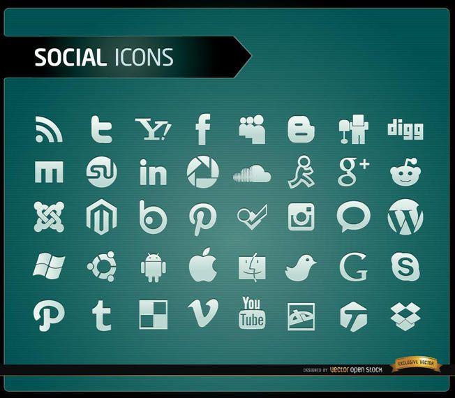 40 iconos de redes sociales