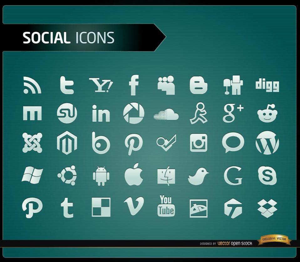40 Social Media-Symbole