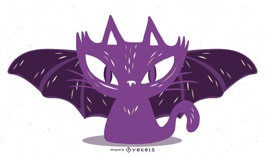 Gato sangriento de bruja de Halloween con alas