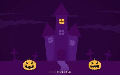 Modelo de cartaz roxo assustador de noite de dia das bruxas