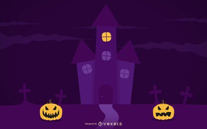 Plantilla de póster púrpura de noche espeluznante