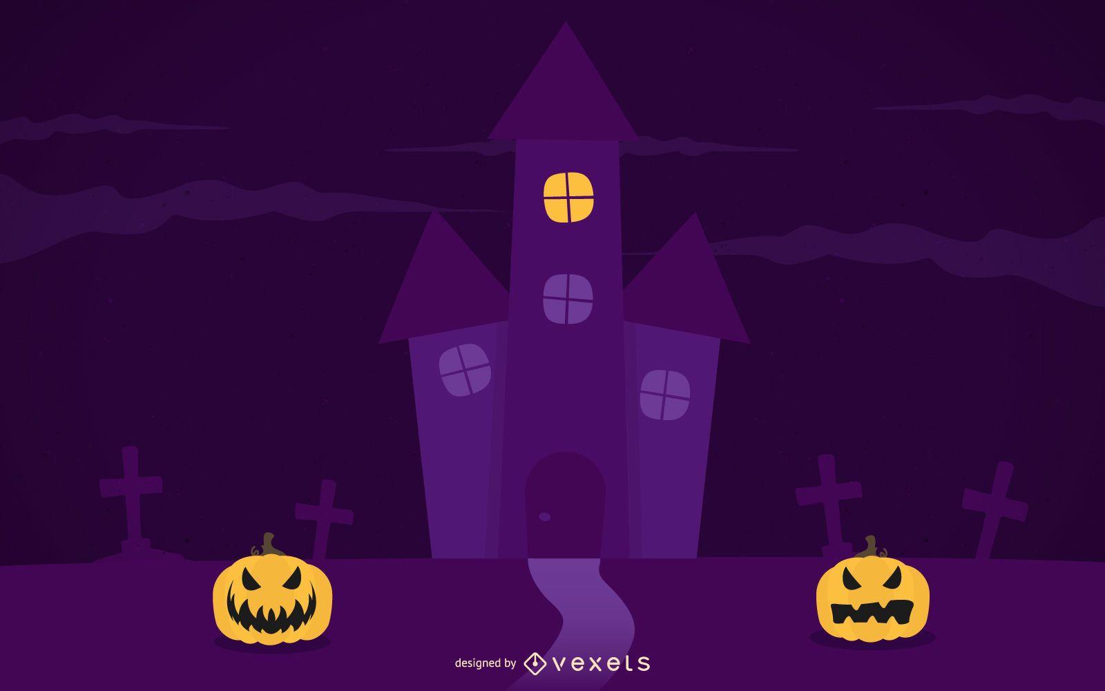 Plantilla de póster púrpura espeluznante de la noche de Halloween
