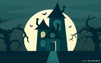 Casa y árboles cazados de Halloween con cementerio