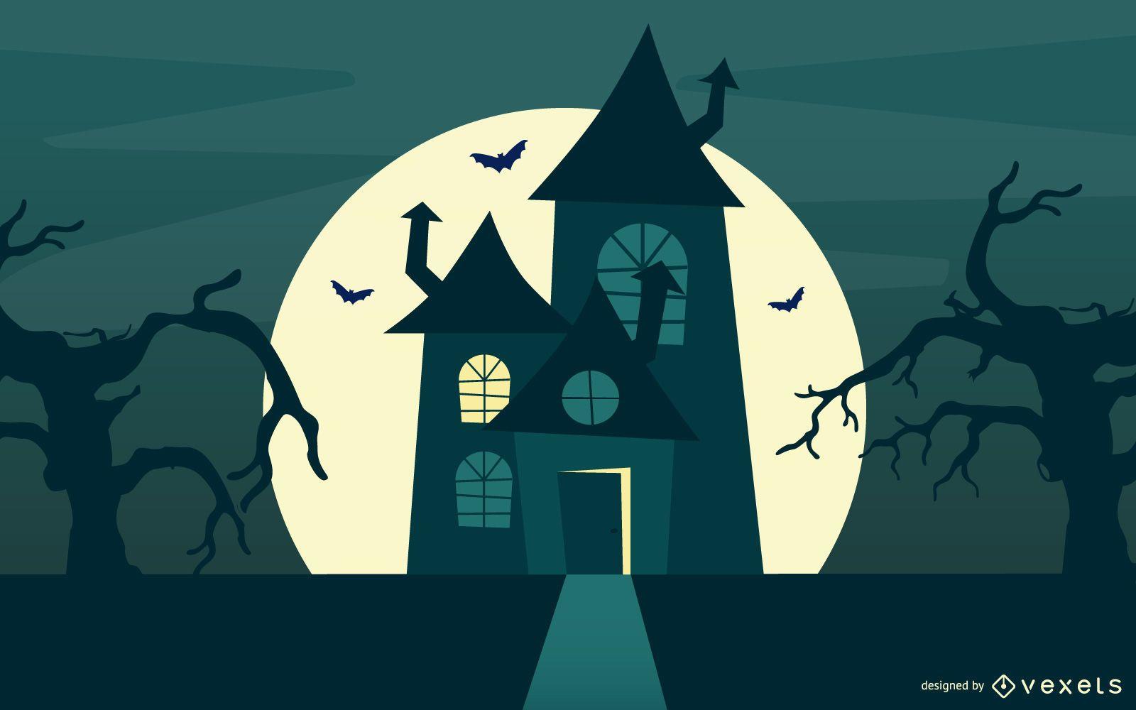 Casa e árvores caçadas de Halloween com cemitério