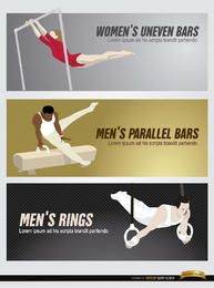 3 conjunto de cabeçalhos esportivos olímpicos
