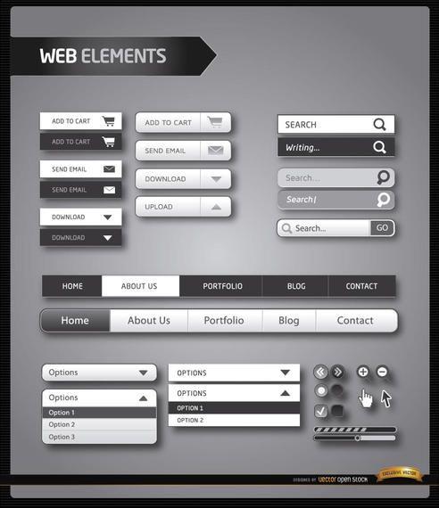 Elementos de menu do site preto e branco