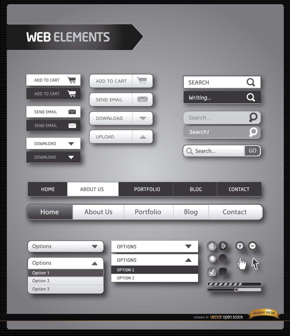 Elementos del menú del sitio web en blanco y negro