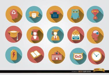 15 ícones coloridos acadêmicos redondos