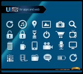 Conjunto de ícones azuis multimídia