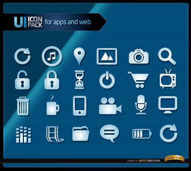 Multimedia blue icons set