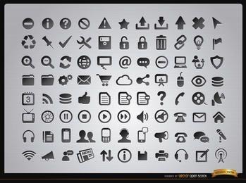 88 menus Web e ícones da mídia