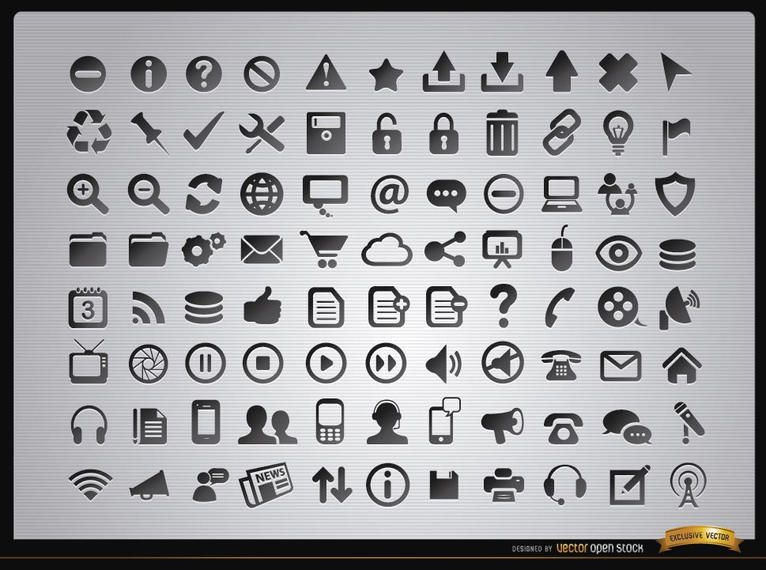 88 Web menus and media icons