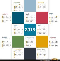 2015 calendário de quadrados coloridos