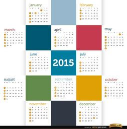 2015 Colored squares calendar