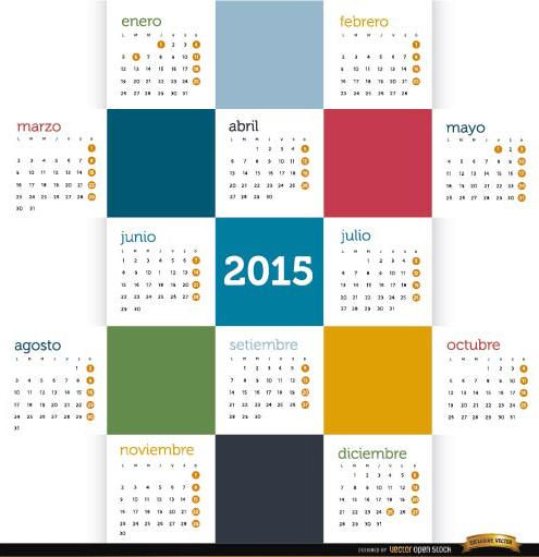 2015 Quadrados coloridos calendário espanhol