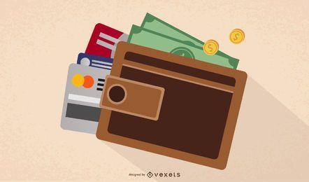 Billetera cerrada con monedas, dinero y tarjetas bancarias