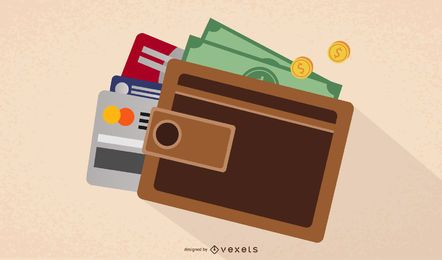 Cartera cerrada con monedas, dinero y tarjetas bancarias
