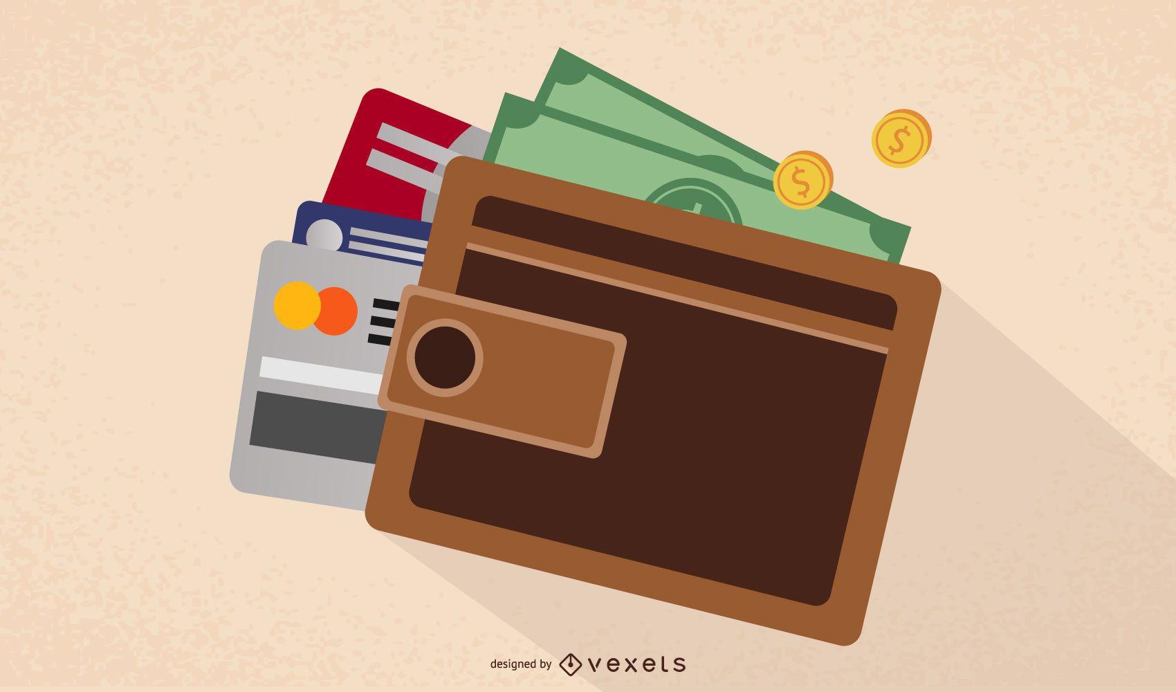 Billetera cerrada con monedas dinero y tarjetas bancarias
