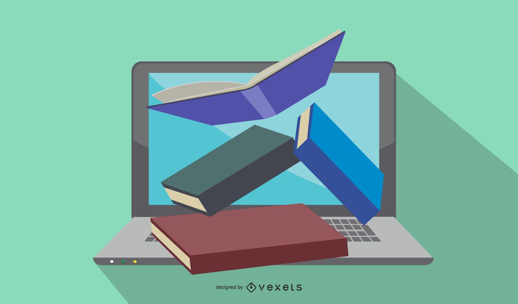 Livros flutuando no laptop aberto